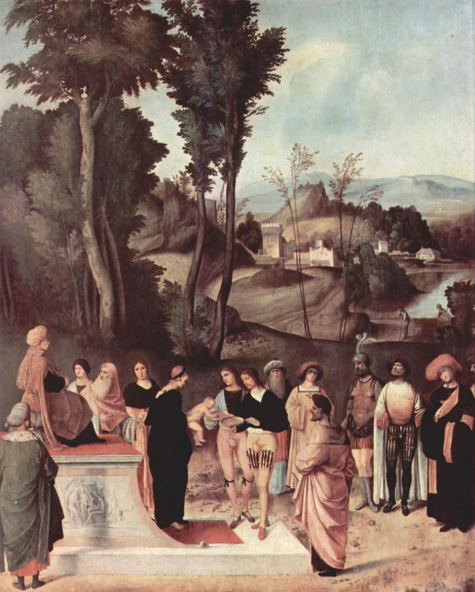 Джорджоне. Юный Моисей перед Фараоном