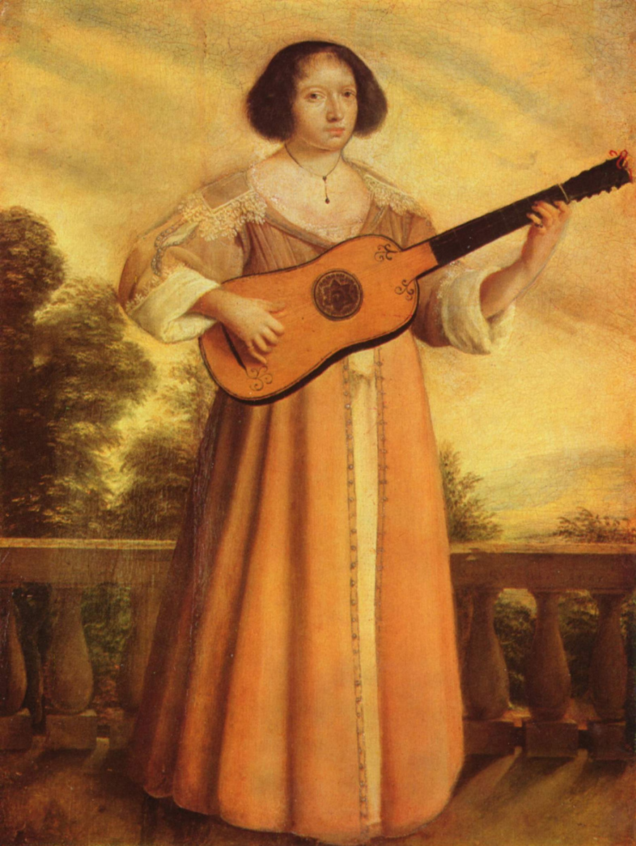 Augustin Quesnel. Girl playing the guitar