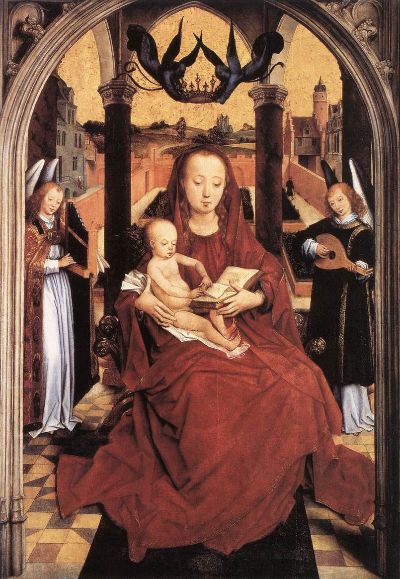 Hans Memling. Madonna and child enthroned with two angels making music