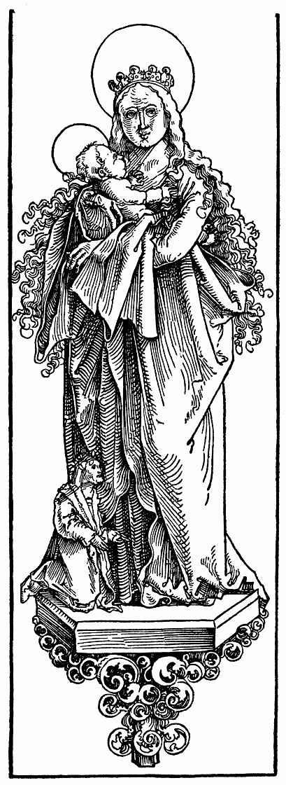 Ханс Бальдунг. Стоящая Мария с младенцем и коленопреклоненный донатор на готической консоли