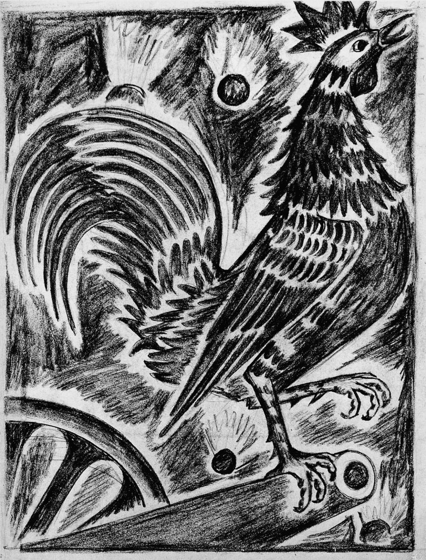 """Natalia Goncharova. French cock. From the series """"Mystical images of war""""."""