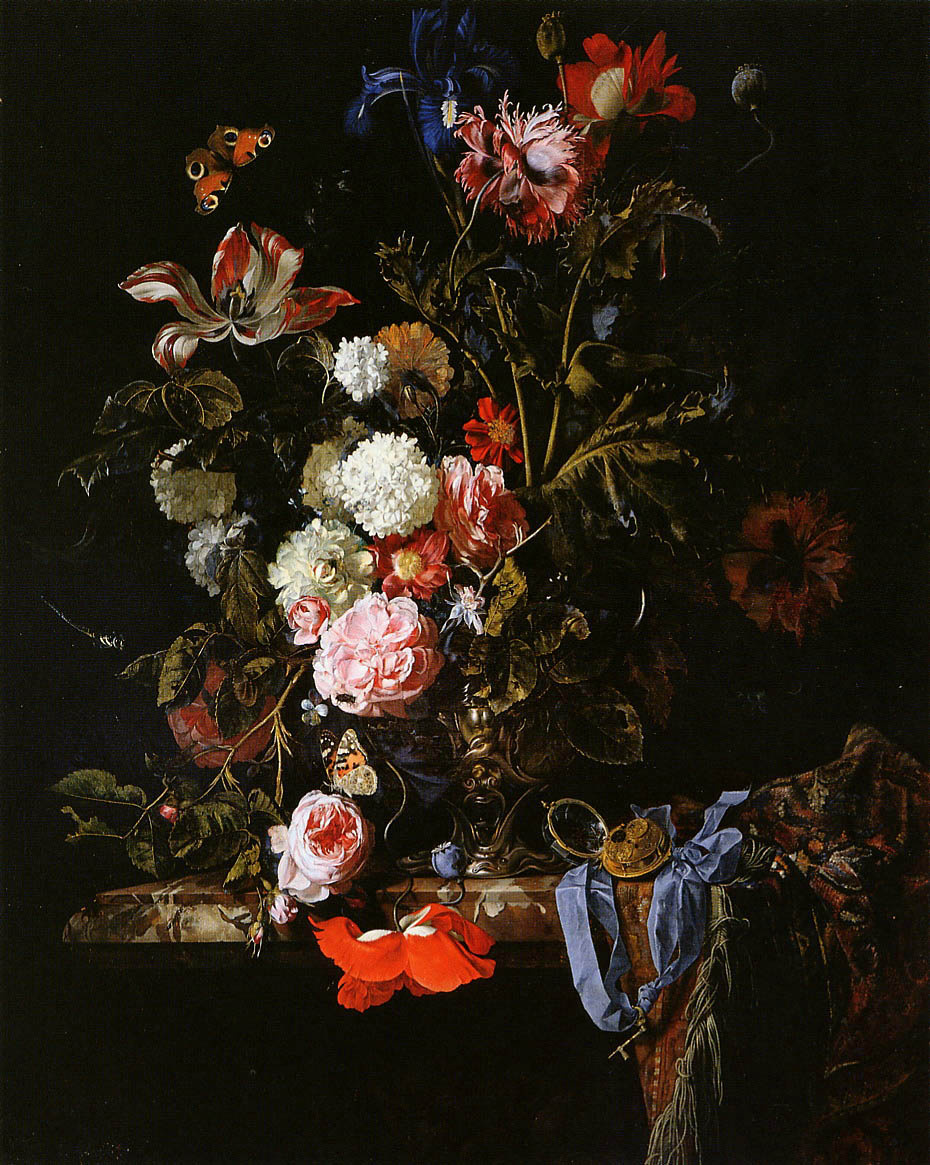 Willem van Aelst. Vase with flowers, a clock and a butterfly