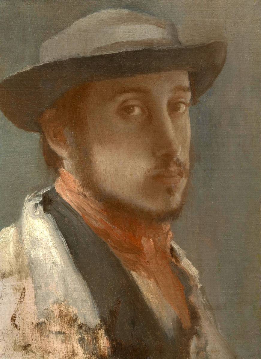 Edgar Degas. Self portrait in a soft hat