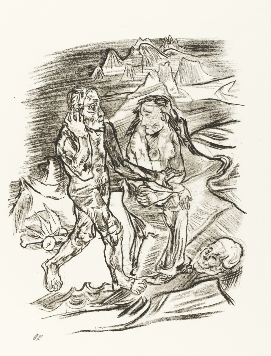 Oskar Kokoschka. Man and woman walking on the Road of death
