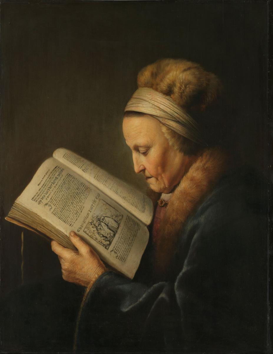 Геррит (Герард) Доу. Старая женщина за книгой (Мать Рембрандта)