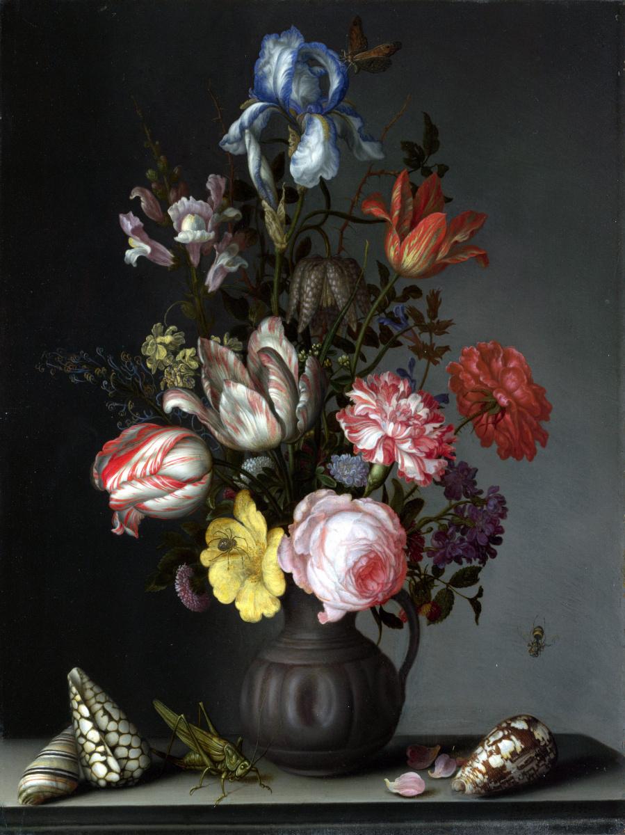 Балтазар ван дер Аст. Цветы в вазе с ракушками и насекомые