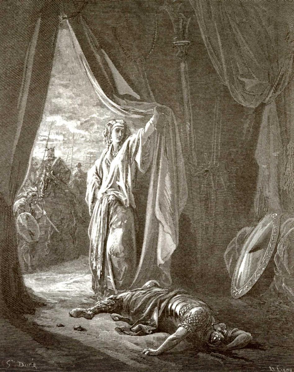 Поль Гюстав Доре. Иллюстрация к Библии: Иаиль убивает Сисару