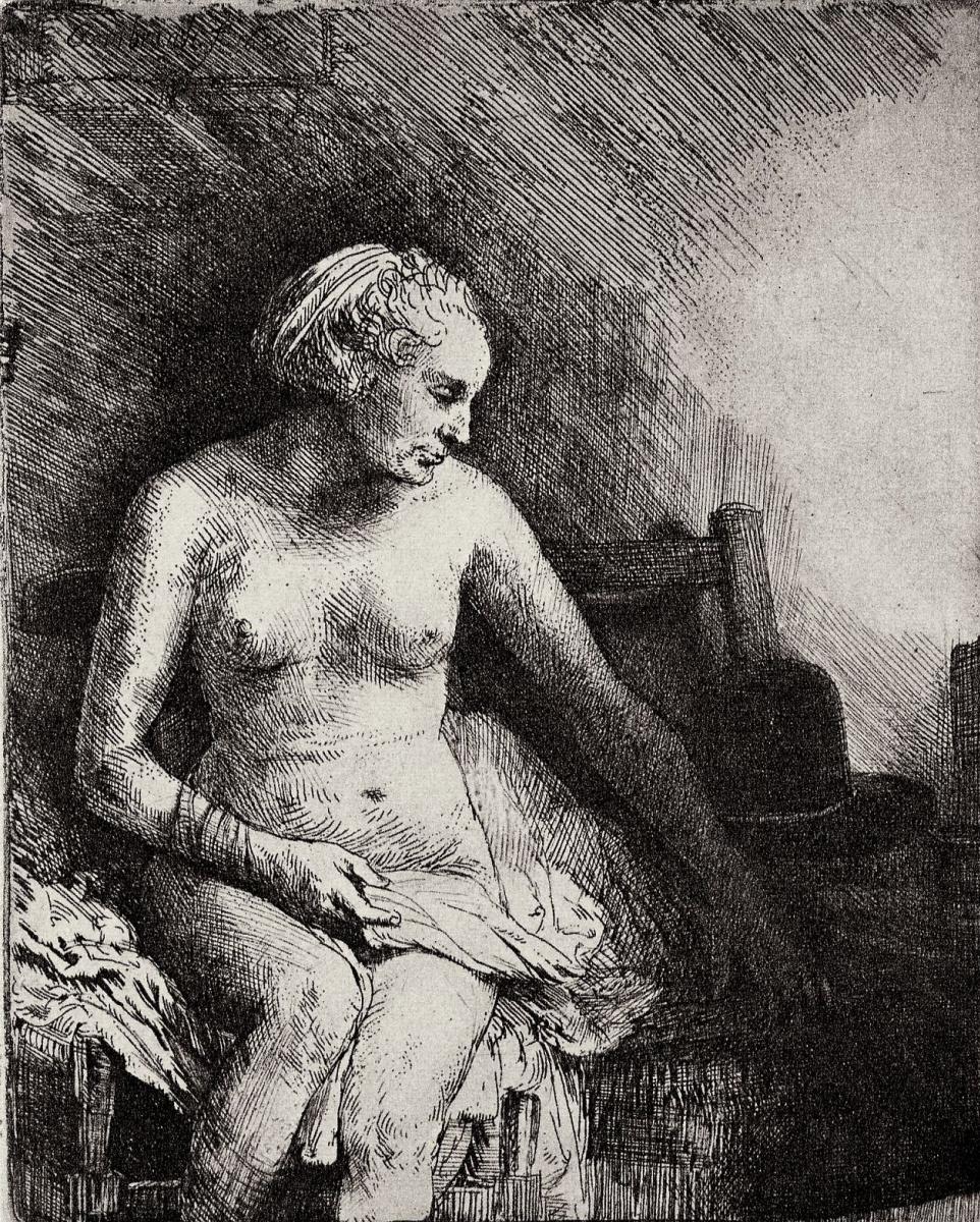 Рембрандт Харменс ван Рейн. Обнаженная с лежащей рядом шляпой