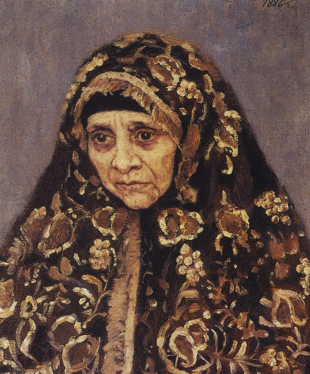 """Vasily Ivanovich Surikov. The old woman in a patterned headscarf. A sketch for the painting """"Boyarynya Morozova"""""""