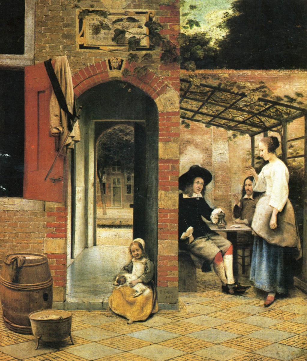 Питер де Хох. Два пьющих вино мужчины и женщина в беседке