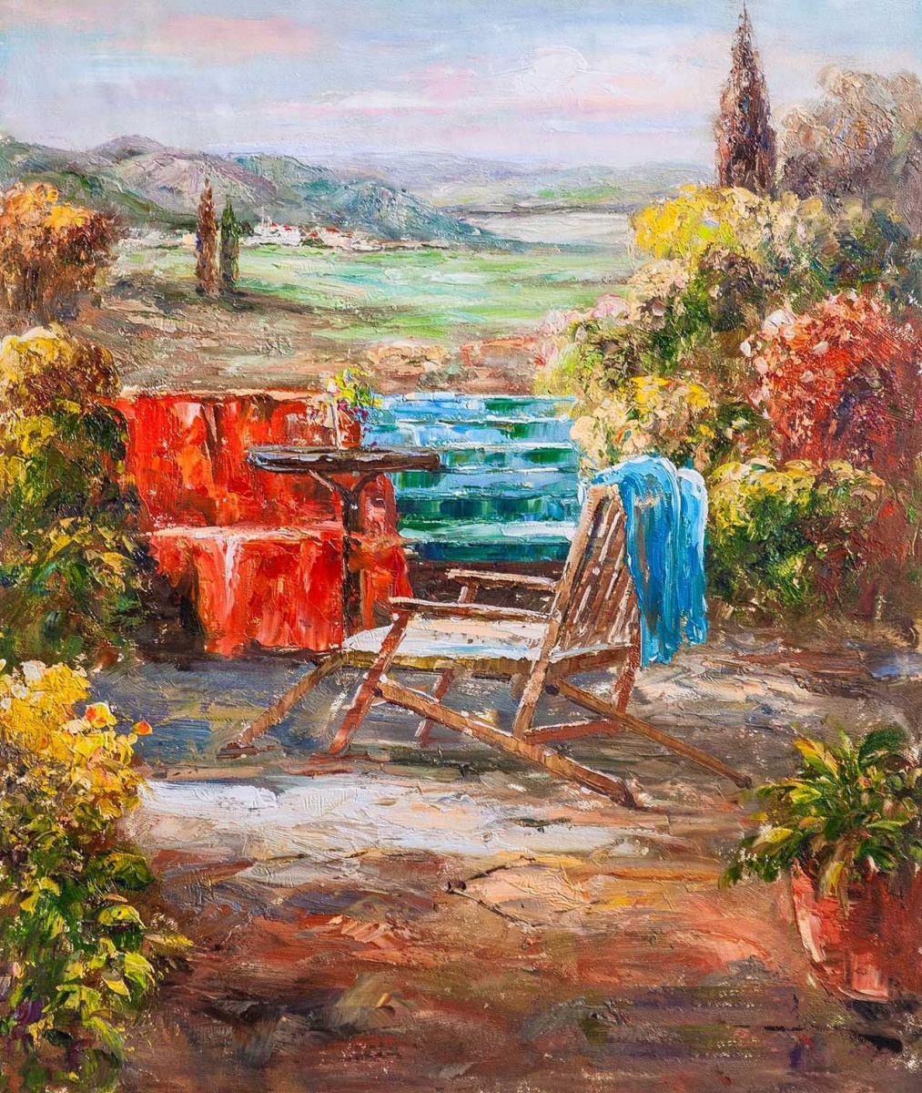 "Andrzej Vlodarczyk. Mediterranean landscape oil painting ""Rest in a blooming garden"""