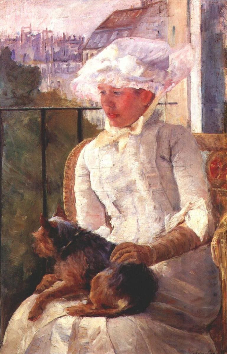 Мэри Кассат. Сьюзен на балконе с собакой