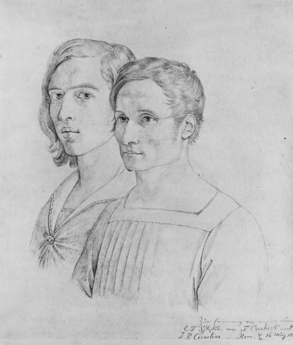 Иоганн Фридрих Овербек. Двойной портрет Петера Корнелиуса и Фридриха Овербека