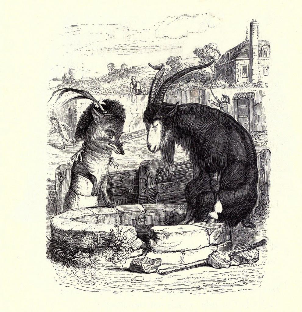 Жан Иньяс Изидор (Жерар) Гранвиль. Козел и Лисица. Иллюстрации к басням Жана де Лафонтена