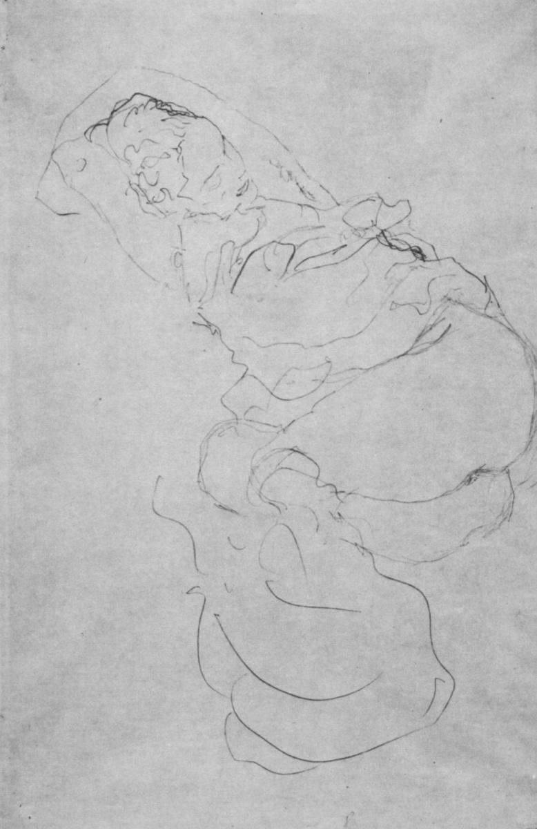 """Густав Климт. Лежащая полуобнаженная с руками, закинутыми за голову. Эскиз для """"Девы"""""""