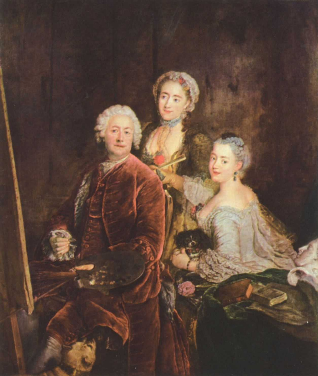 Antoine Pen. Portrait of the artist with his daughters in front of the easel