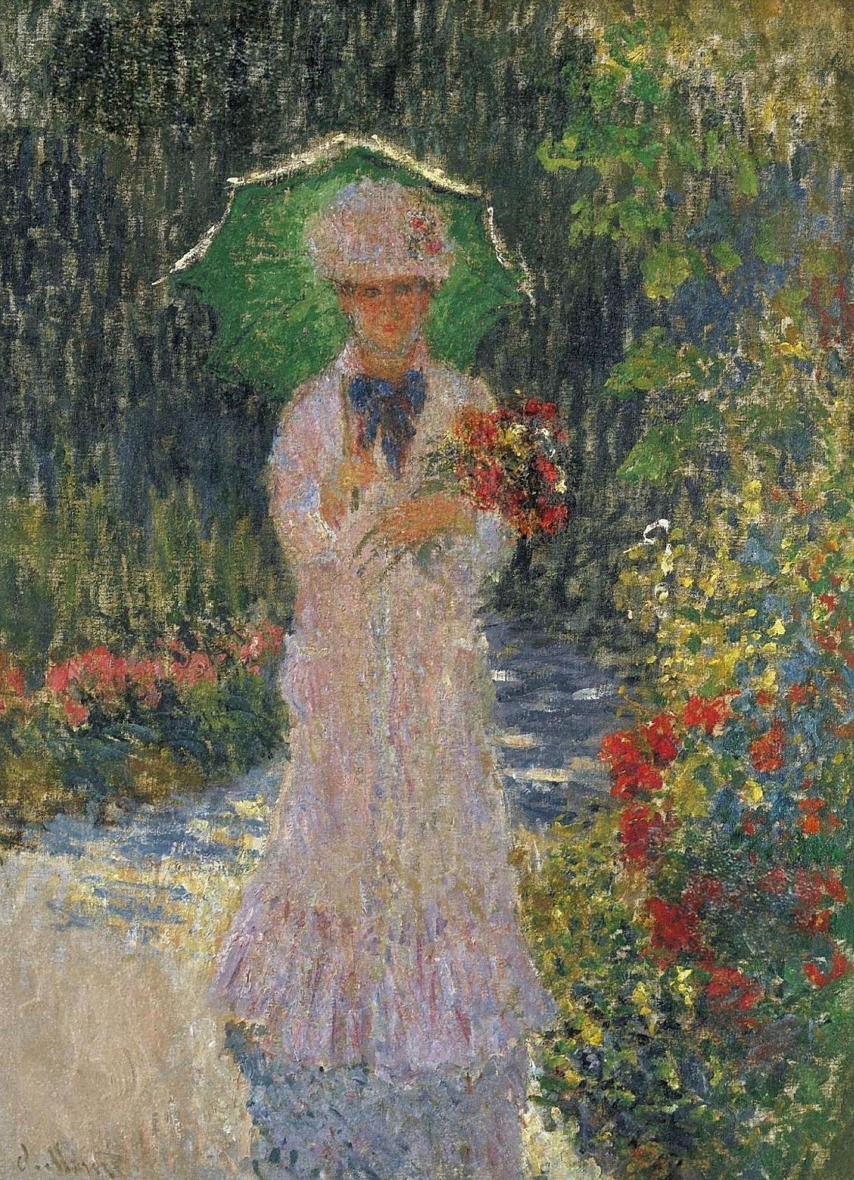 Клод Моне. Камилла с зеленым зонтиком