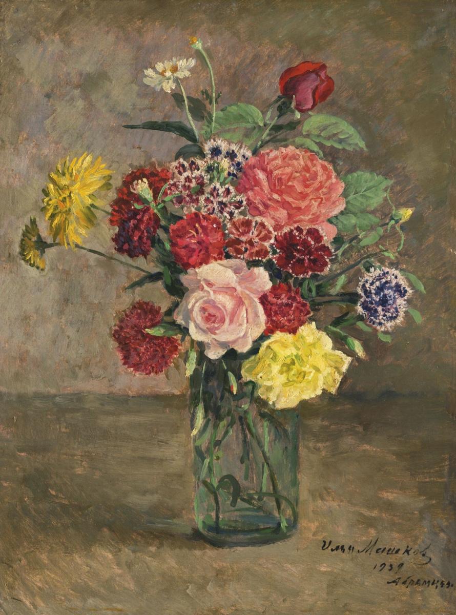 Илья Иванович Машков. Натюрморт с розами и гвоздиками в стеклянной банке