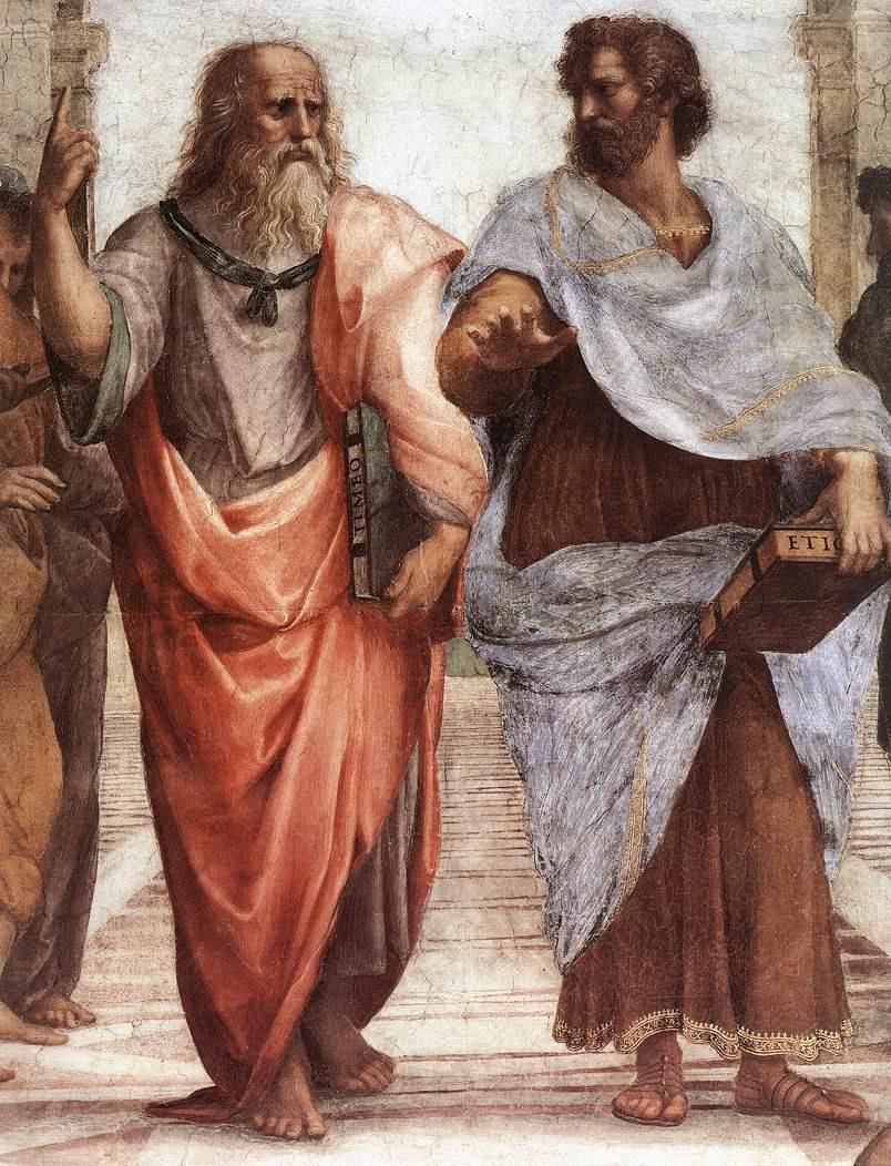 """Рафаэль Санти. Станца делла Сеньятура. Фреска """"Афинская школа"""". Фрагмент: Платон (портрет Леонардо да Винчи) и Аристотель"""