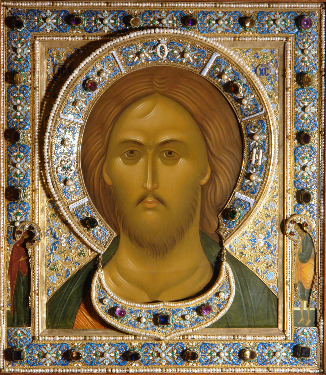 Icon of Christ Pantocrator with the upcoming precious setting