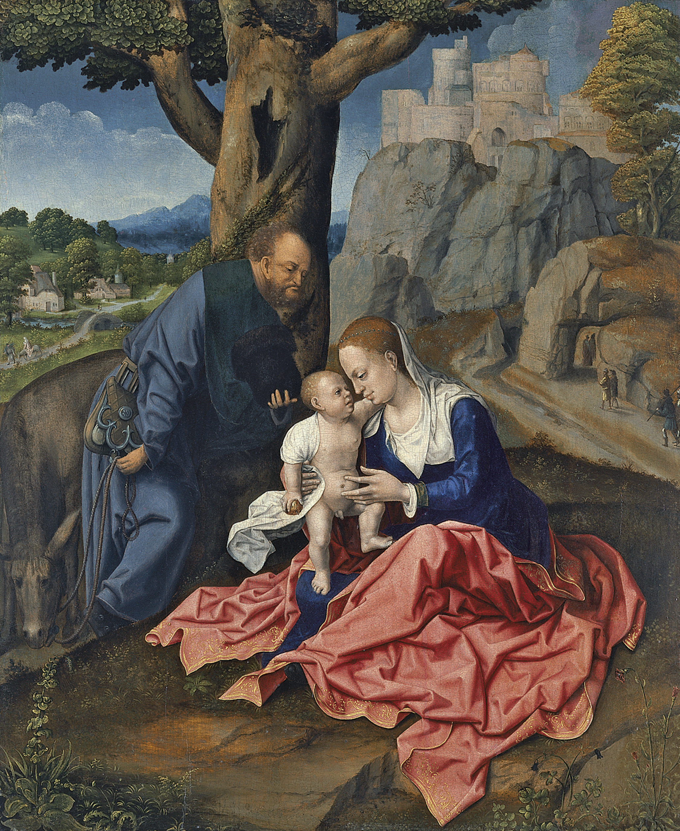 Bernart Van Orley. The Holy family. Rest on the flight into Egypt