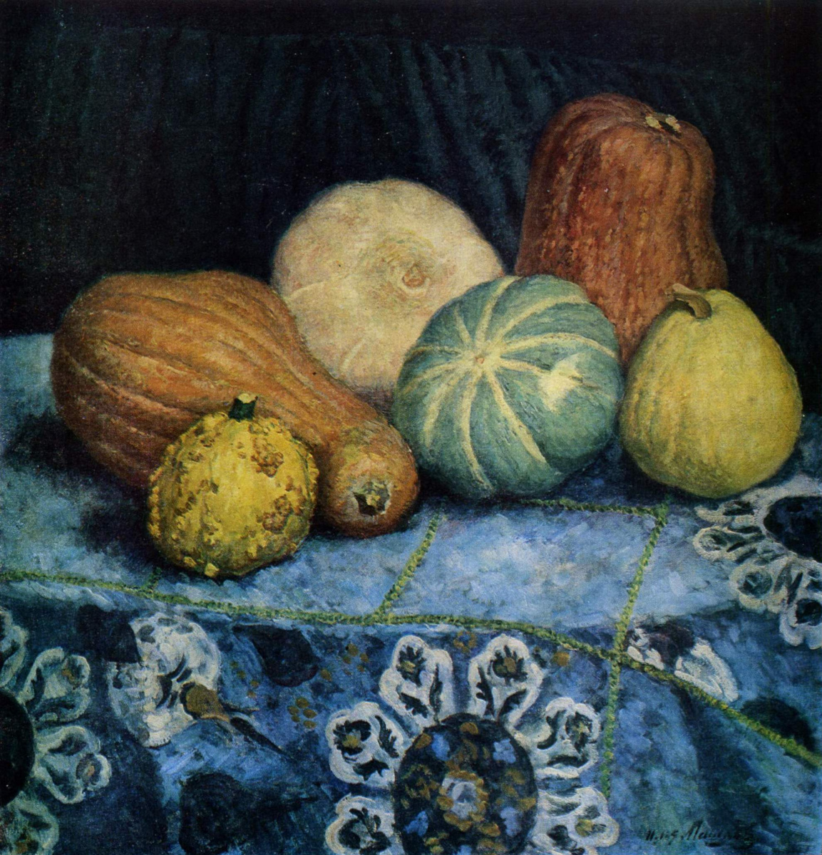 Ilya Ivanovich Mashkov. Pumpkins on an embroidered tablecloth. 1939
