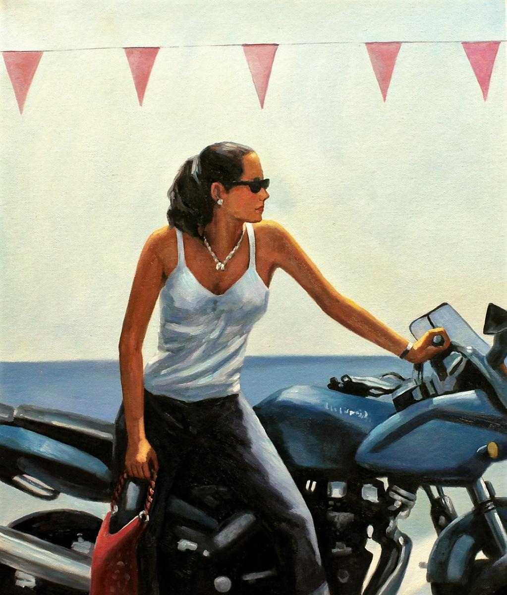 Савелий Камский. Копия картины Джека Веттриано La fille la moto