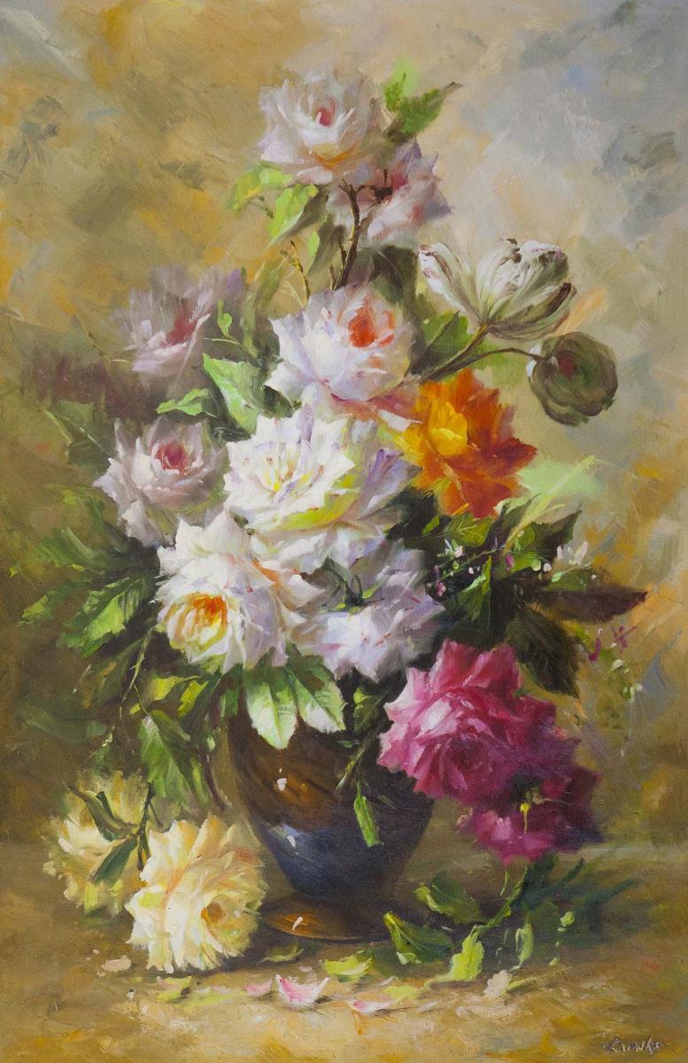 Савелий Камский. Букет с оранжевой розой и тюльпаном