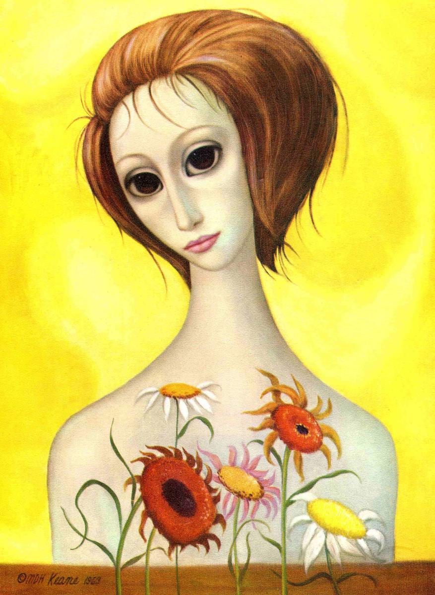 Маргарет Кин. Девушка и цветы