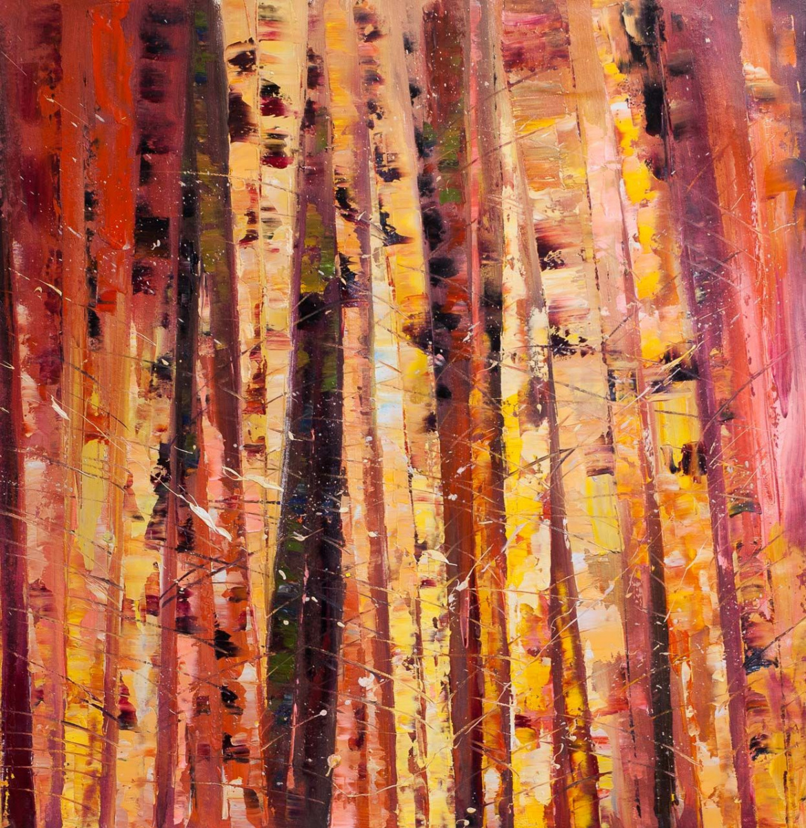 (no name). Patchwork. Birch trees N5. Red
