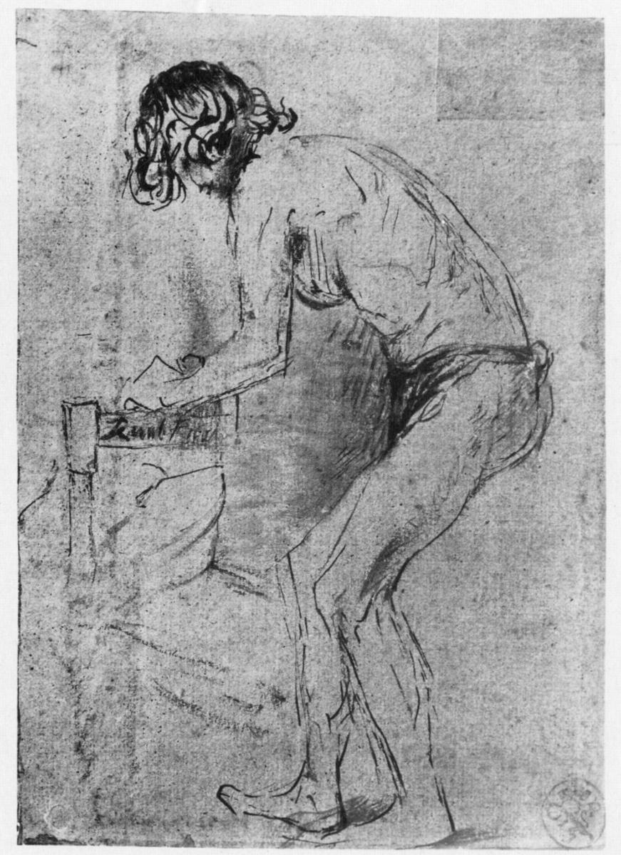 Рембрандт Харменс ван Рейн. Обнажённый натурщик, наклонившийся вперёд