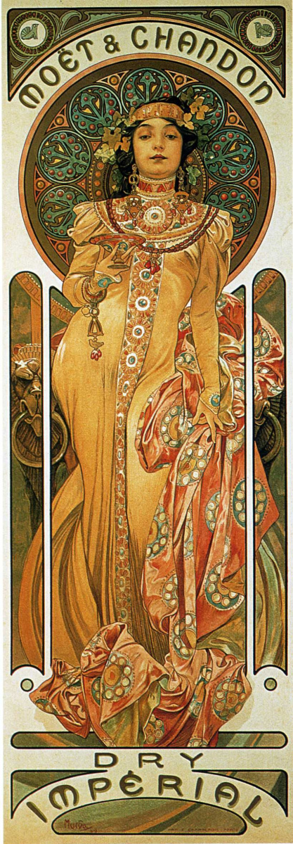 """Alfons Mucha. Poster for """"the moët and Chardonnay: Dry Imperial"""""""