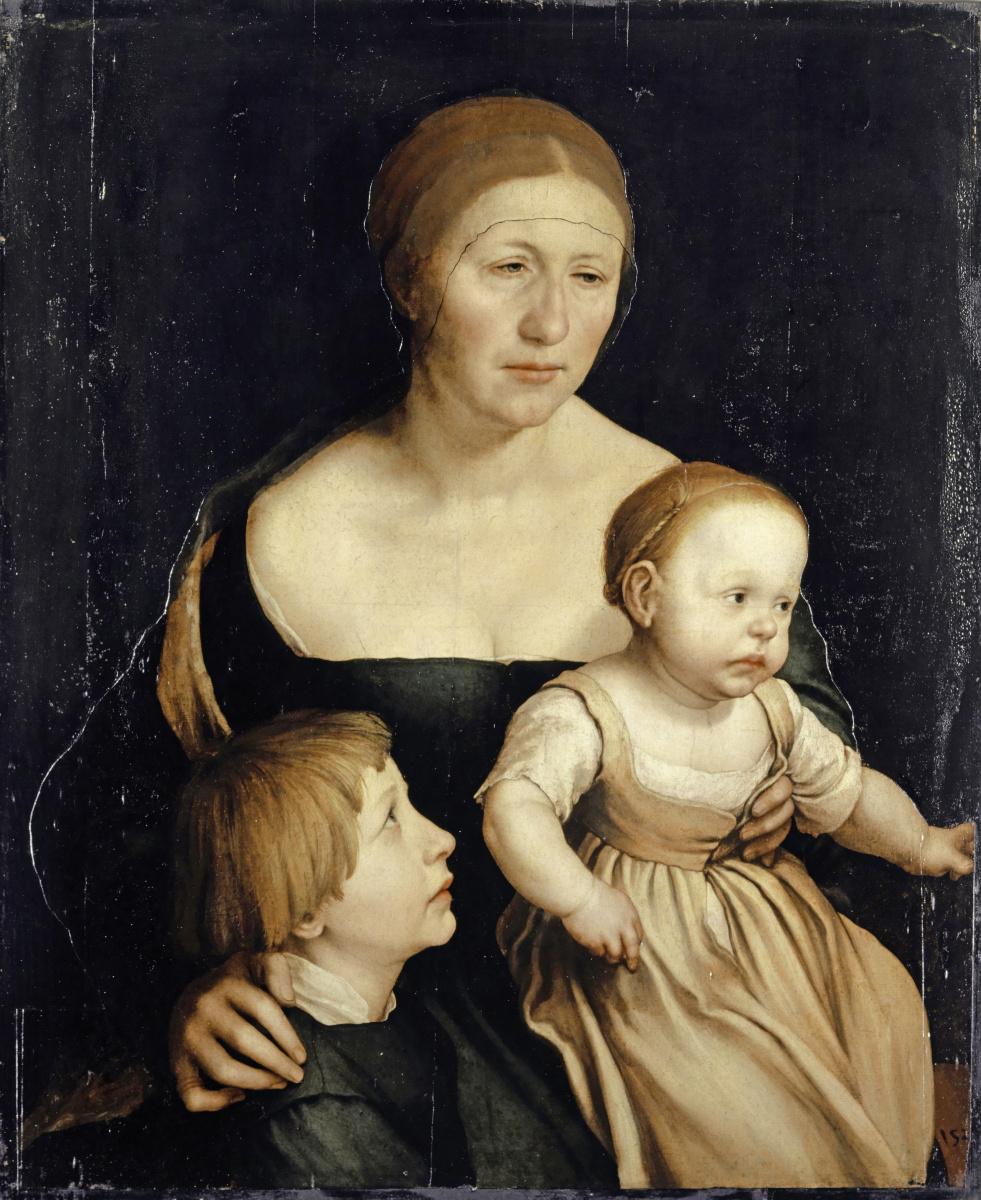Ганс Гольбейн Младший. Портрет жены художника с двумя старшими детьми