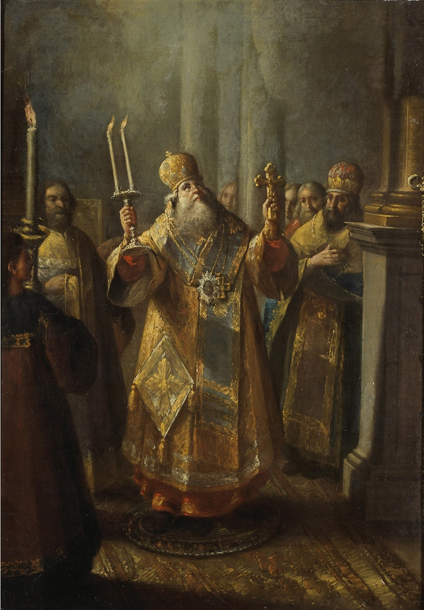 Alexey Ivanovich Belsky Russia 1926 - 1796. Bishop during the liturgy.