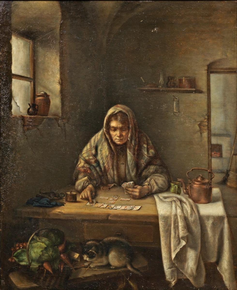 Alexander Gerymski. Woman Playing Solitaire