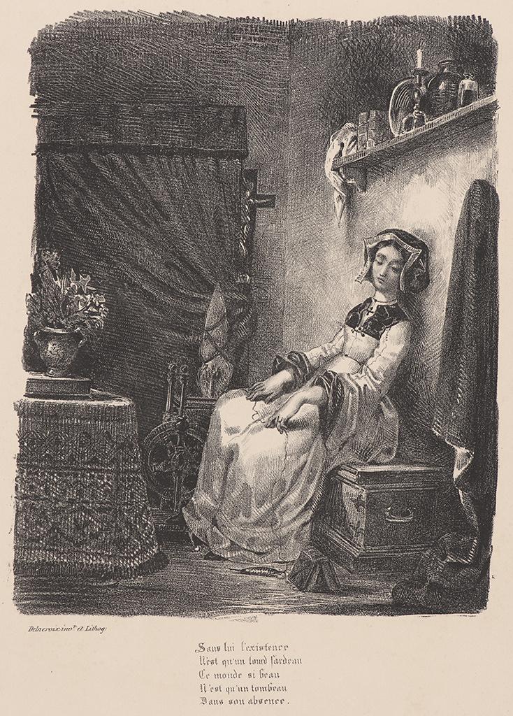 """Eugene Delacroix. Margaret at the spinning wheel (for Goethe's """"Faust"""")"""