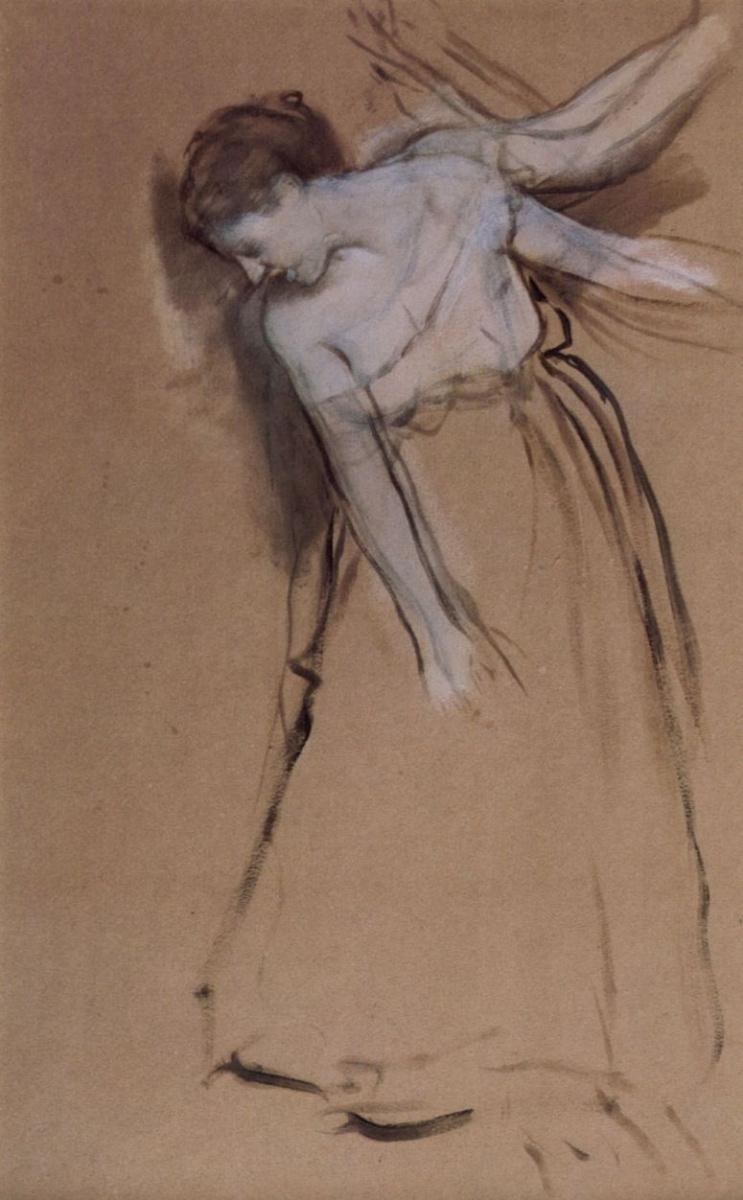 Эдгар Дега. Стоящая с вытянутыми руками, слегка наклонившаяся натурщица
