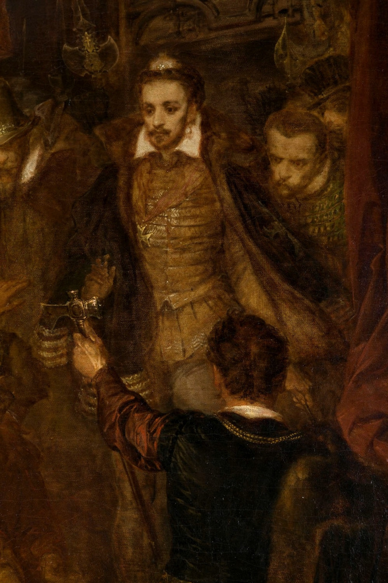 Ян Матейко. Убийство Ваповски во время коронации Генриха Валуа. Фрагмент. Генрих III Валуа