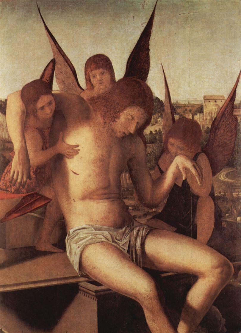 Антонелло да Мессина. Пьета с тремя ангелами, фрагмент