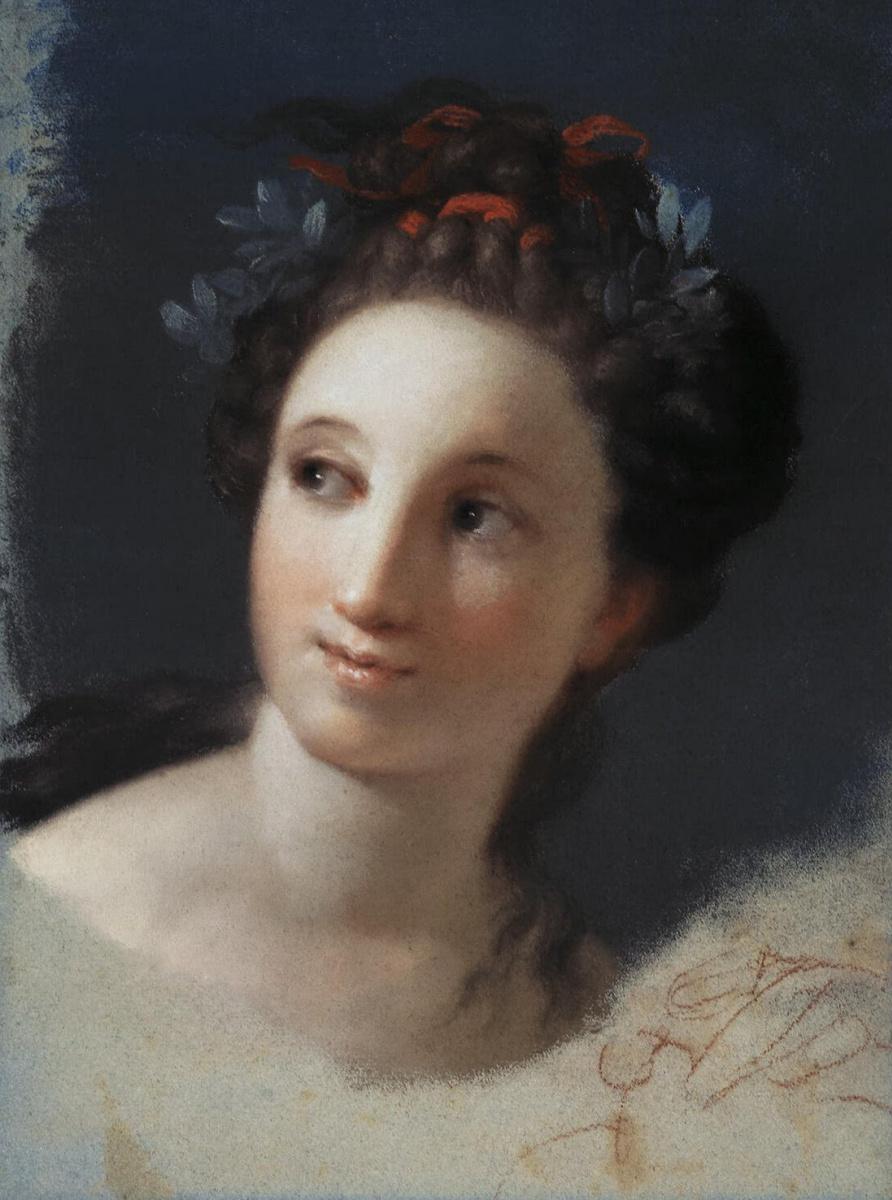 Розальба Каррьера (Каррера). Женская голова с лентой и лавровыми листьями в волосах