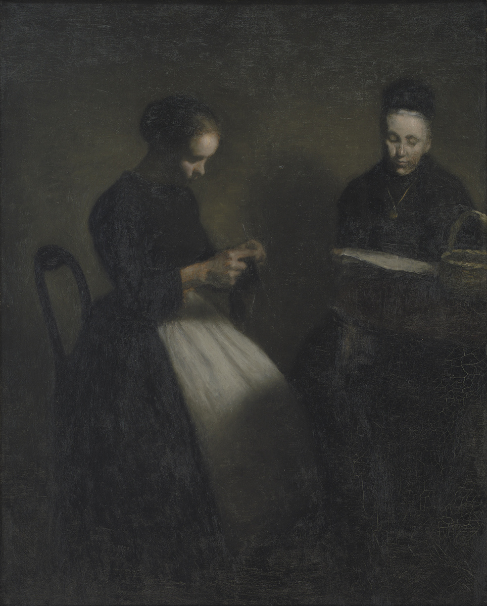 Вильгельм Хаммерсхёй. Вечер в гостиной. Мать и жена художника