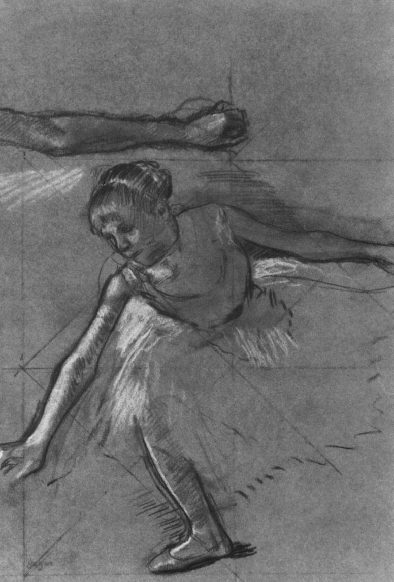 Эдгар Дега. Лист с этюдами руки и балерины на поклоне