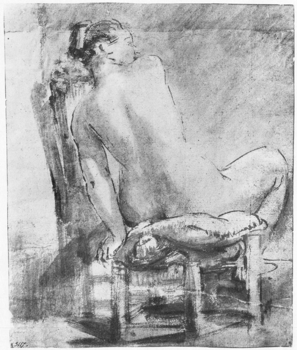 Рембрандт Ван Рейн. Сидящая обнаженная натурщица, фигура со спины