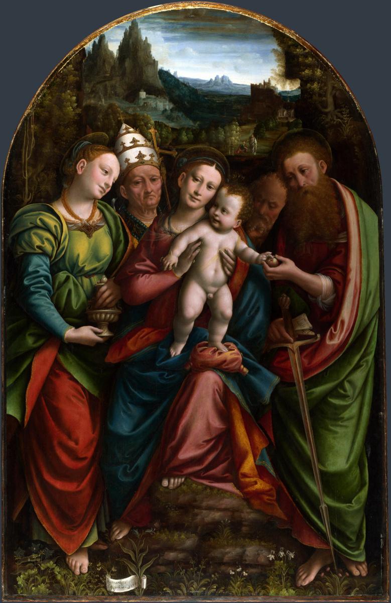 Ланино Бернардино. Мадонна с младенцем и святыми