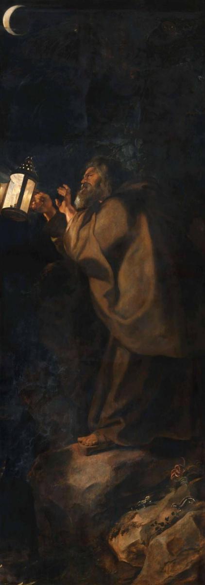 Питер Пауль Рубенс. Снятие с креста (фрагмент, обратная сторона правой створки - Отшельник с фонарем)