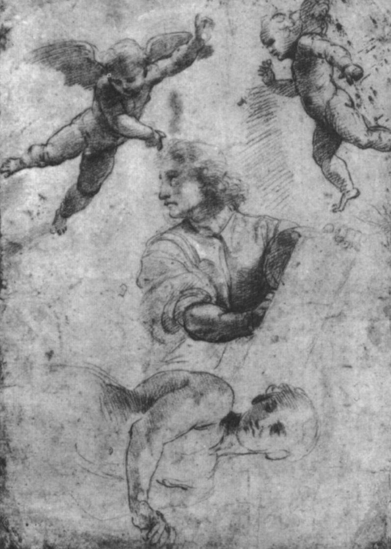 Рафаэль Санти. Даниил и ангел. Этюд для мозаик Капеллы Киджи