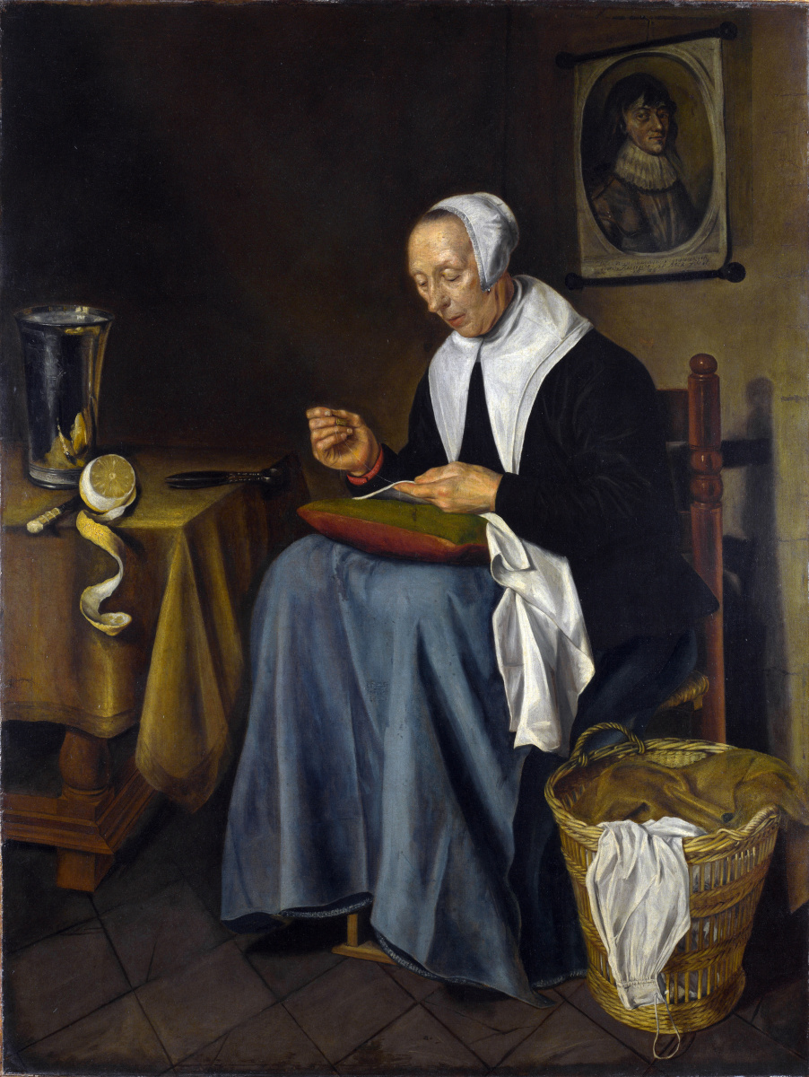 Йоханнес ван дер Аак. Старуха шьет