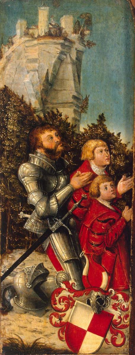 Лукас Кранах Старший. Портрет рыцаря с двумя сыновьями