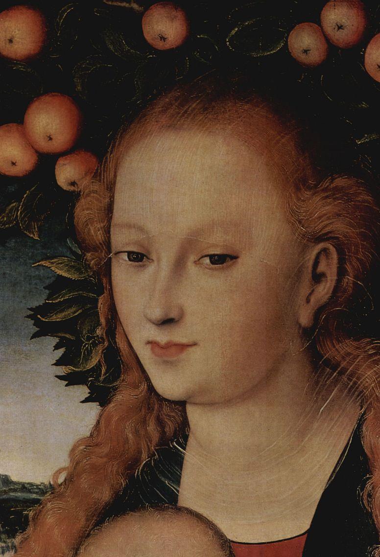 Лукас Кранах Старший. Мадонна под яблоней, деталь: Голова Мадонны