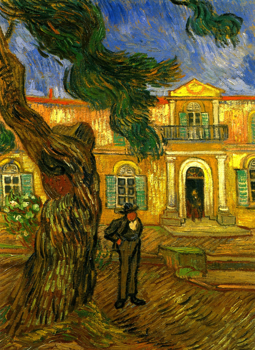 Pine tree with figure in the garden of the hospital Saint-Paul by ...